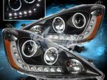 Передние фары на Honda Fit 08-12 Dual Twin Angel Eye Halo Projector Чёрный