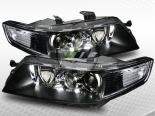 Передние фонари на Acura TSX 04-08 Black Crystal