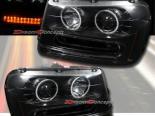 Передние фары для Chevrolet Trailblazer 02-09 ANGEL EYES DUAL CCFL PROJECTOR Чёрный
