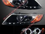 Черная альтернативная оптика для Kia Optima c LED DRL и Ангельскими глазками CCFL