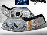 Передние фары для Ford Mustang 99-04 Halo Projector Хром : Spec-D