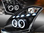Передние фары для  Infiniti G35 03-07 Coupe Dual Halo Projector Black