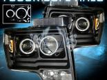 Передние фары на Ford F150 09-10 Dual Twin CCFL Halo Projector Чёрный