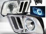 Передние фары для Ford Mustang 05-09 Halo Projector CCFL Хром : Spec-D