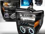 Передние фары для Ford F250 08-10 Halo Projector Чёрный V2 : Spec-D