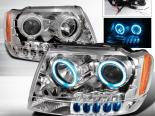 Передние фонари для Jeep Grand Cherokee 99-04 Halo Projector Chrome V3: Spec-D