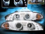 Передняя оптика для Mitsubishi Eclipse 97-99 Dual Twin Halo Projector Хром