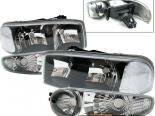 Передние фары для GMC Yukon 00-04 + оптика в бампер Чёрный
