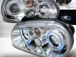 Передняя оптика на Volkswagen Golf 99-05 Halo Projector Хром: Spec-D