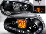 Передние фары для Volkswagen Golf 99-05 Projector Чёрный V2: Spec-D