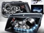 Передние фонари на Volkswagen Jetta 99-04 Halo Projector Чёрный