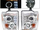 Передние фары на Ford F250 08-10 Halo Projector Хром