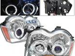 Передние фары для Jeep Grand Cherokee 05-08 Dual Halo Projector Chrome