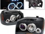 Передние фары на Nissan Frontier 01-04 Dual Halo Projector Чёрный