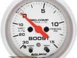 Auto Meter Ultra-Lite Датчик : Boost/Vacuum 30 In Hg.-Vac./15 PSI #18485