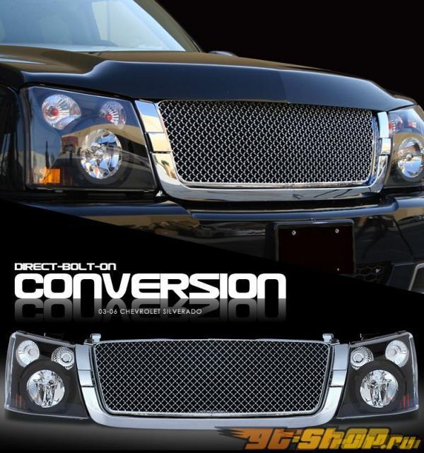 Передние фонари для Chevrolet Silverado 03-06  комплект Чёрный + решётка радиатора