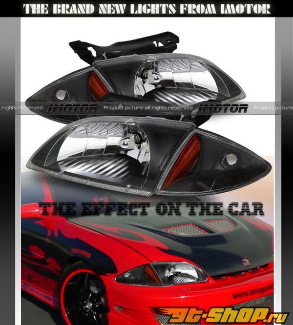 Передние фары для Chevrolet Cavalier 95-05 Кристалл Чёрный