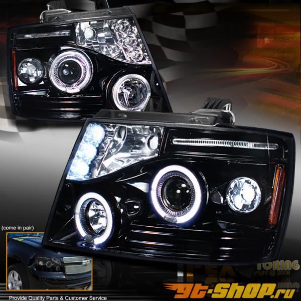 Передние фонари для Chevrolet Tahoe 2007-2013 Halo Projector Glossy Тёмный