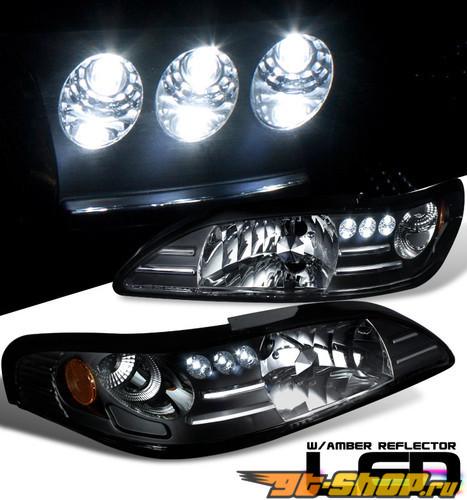 Передние фонари для Ford Mustang 94-04 JDM Стиль Чёрный