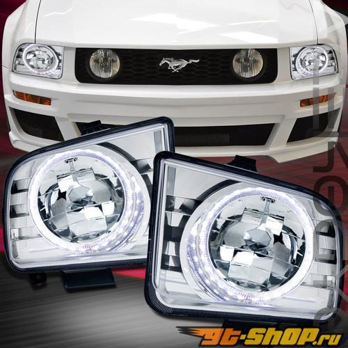 Передняя оптика на Ford Mustang 05-13 HALO ANGEL EYE Хром