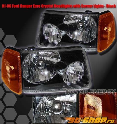 Передняя оптика для Ford Ranger 02-09 Кристалл Чёрный