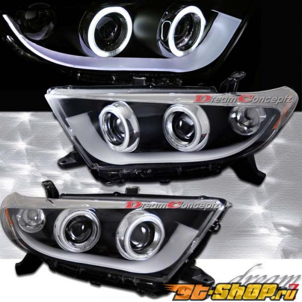 Передние фонари на Toyota Highlander 11-13 CCFL ANGEL EYE HALO PROJECTOR Чёрный