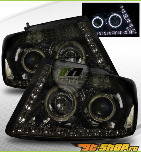 Передние фонари на Ford F-150 05-08 Halo Projector Тёмный