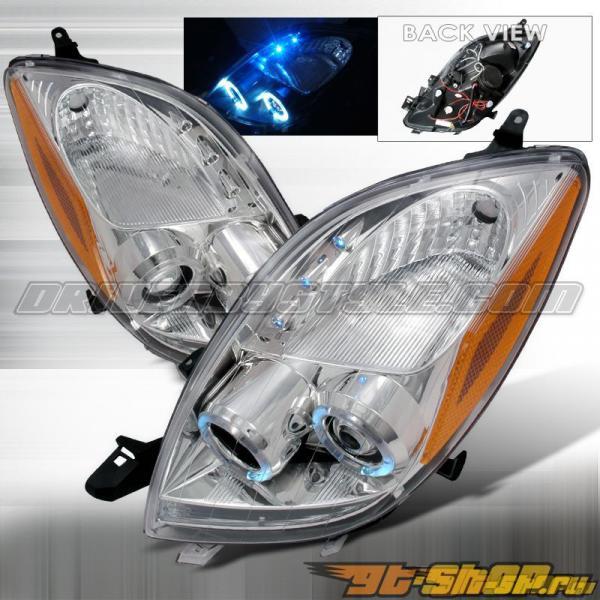 Передняя оптика для Toyota Yaris 06-10 Halo Projector Хром : Spec-D