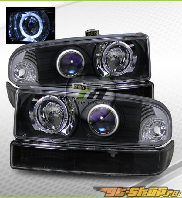 Передние фары для Chevrolet Blazer 98-04  Angel Eye Halo Projector Чёрный