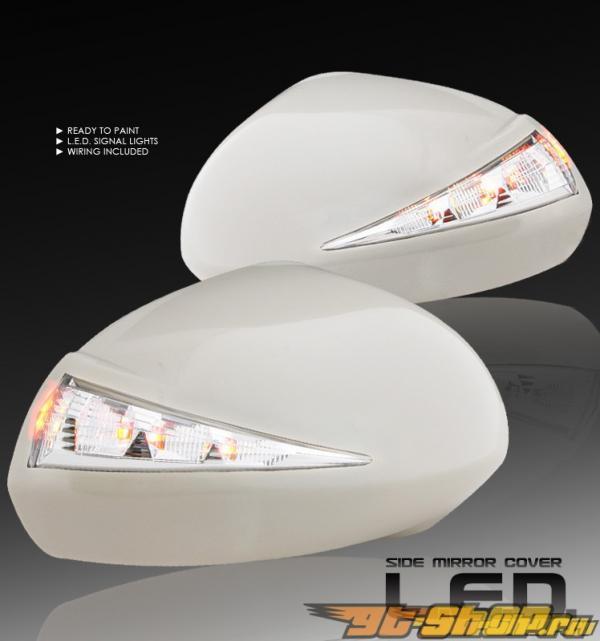 Накладки на зеркала с диодным поворотником подготовленные к покраске для Honda Fit 2007-2008