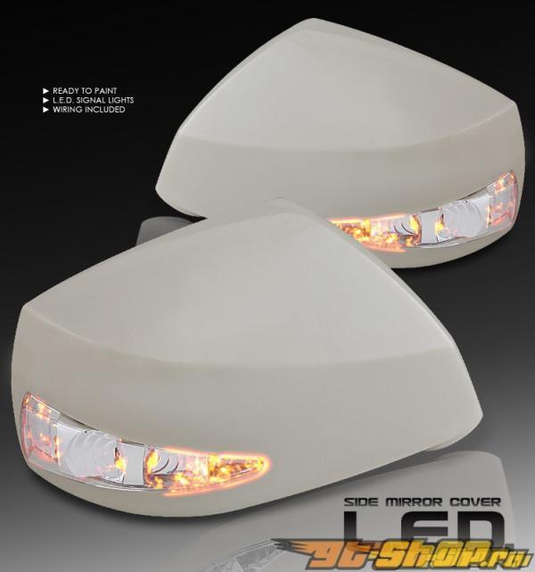 Накладки на зеркала с диодным поворотником подготовленные к покраске на Hyundai Tiburon 2003-2008
