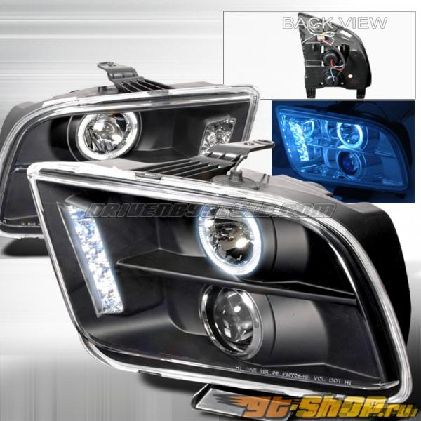 Передняя оптика на Ford Mustang 05-09 Halo Projector Чёрный V2: Spec-D