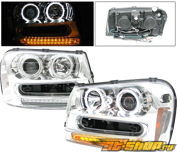 Передняя оптика для Chevy Trail Blazer 02-05 Halo Projector CCFL Хром