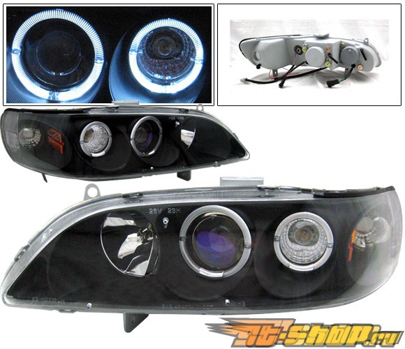 Передняя оптика на Honda Accord 98-02 Dual Halo Projector Чёрный