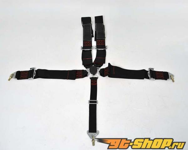 Status Racing 3 Inch 5 Point Cam Lock проводка для  комплект Чёрный with Красный Stitching - FIA Approved