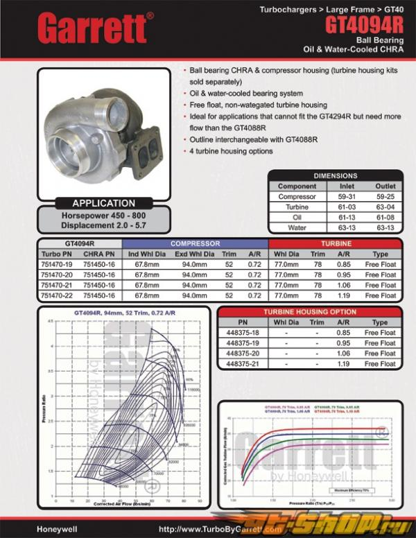 Garrett GT4094R Turbocharger : 450-800 HP #20662