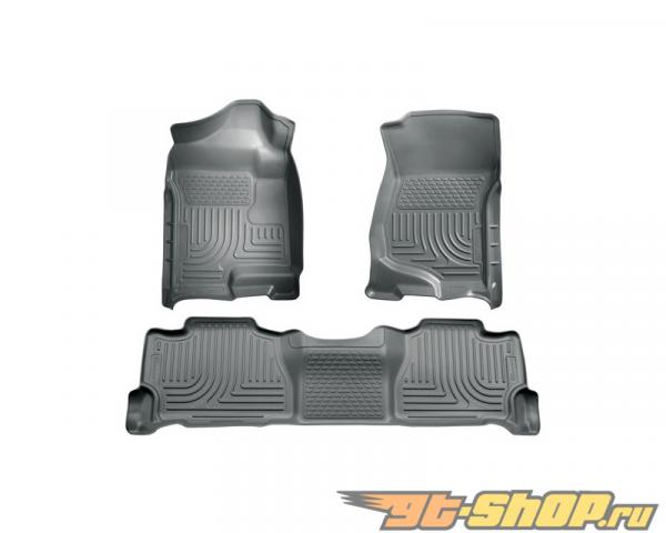 Husky Liners передний  & 2nd Сидения Floor Liners | Weatherbeater Series Grey Cadillac Escalade Luxury 11-14
