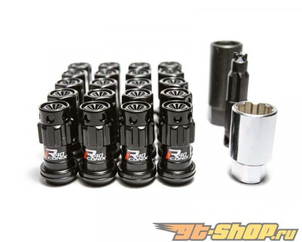 Kics R40 iCONIX M12x1.25 Чёрный Хром 16 части Lug Nut Set & 4 части Lock Set with Чёрный Plastic Cap