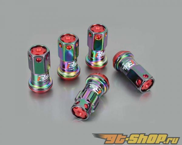 Kics R40 iCONIX M12x1.25 Neo Хром 16 части Lug Nut Set & 4 части Lock Set with Чёрный Plastic Cap