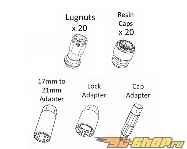 Kics R40 iCONIX M12x1.25 Neo Хром 20 части Lug Nut Set with Чёрный Plastic Cap