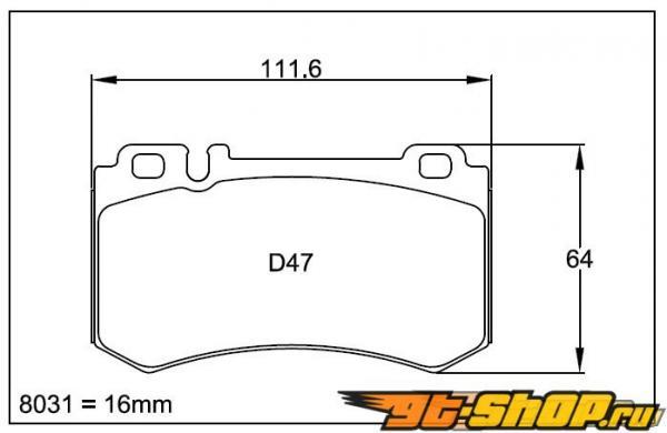 Pagid RS 19 Жёлтый задние тормозные колодки Mercedes CLK 63 AMG Чёрный Series 08+