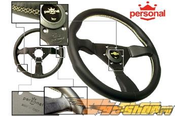 Personal Руль - Grinta 350mm Чёрный Leather / Жёлтый Stitch